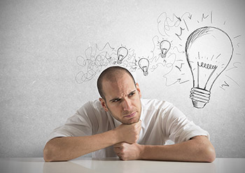 Concept of a businessman with a creative big idea